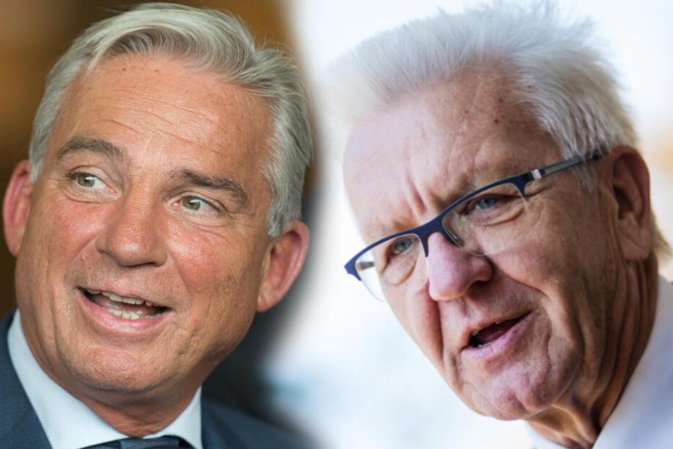 Innenminister Thomas Strobl (CDU) und Ministerpräsident Winfried Kretschmann (Grüne). (Fotomontage)