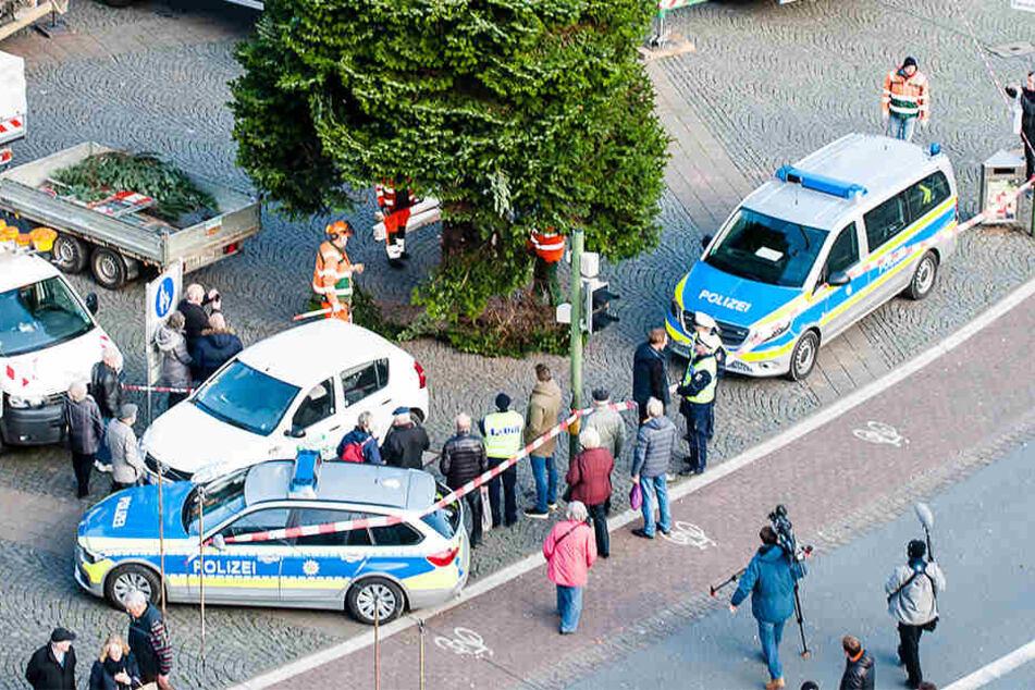 Mit Polizei-Eskorte kam der Baum angefahren.
