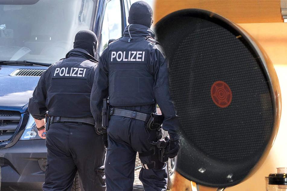 Ein Mann mit Bratpfanne hat eine Spezialeinheit der Polizei auf den Plan gerufen (Bildmontage).