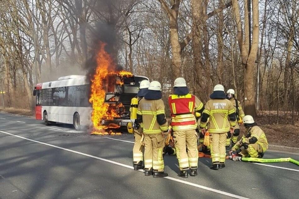 Linienbus fängt plötzlich Feuer, Busfahrer hat alles im Griff
