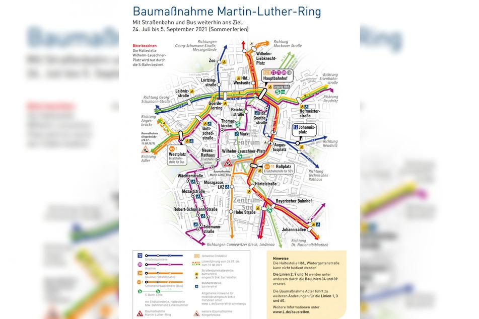 Übersicht über die Baumaßnahme am Martin-Luther-Ring vom 24. Juli bis 5. September.