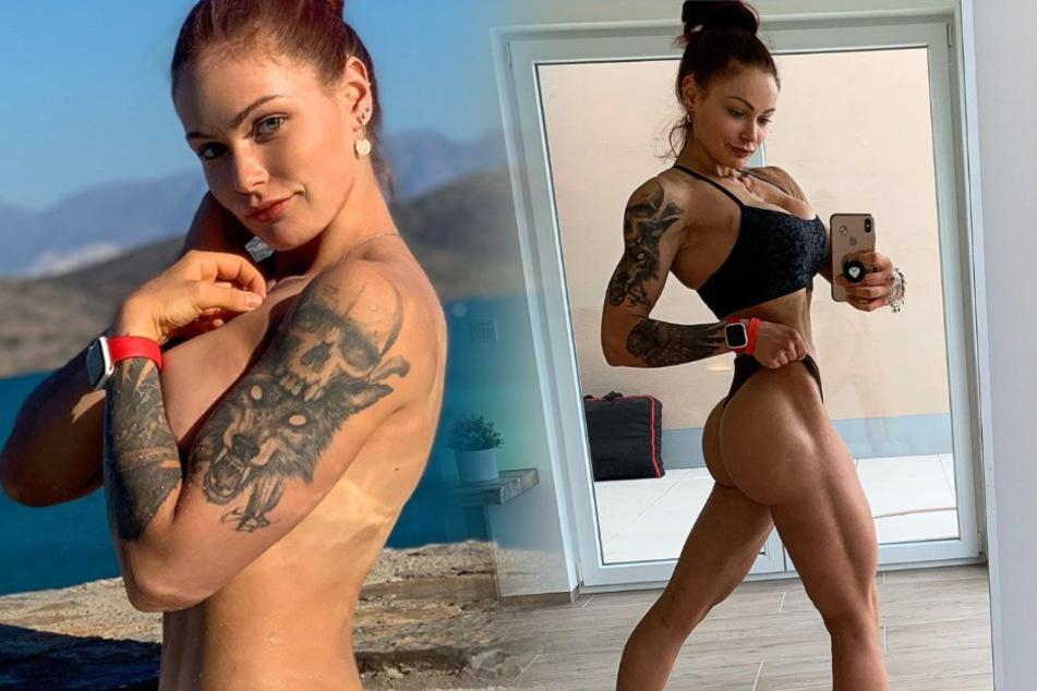 """Die Fotomontage zeigt zwei optisch eindrucksvolle Fotos aus dem Instagram-Profil von Fitness-Influencerin Lea Künzl (22) alias """"Lealoveslifting"""" aus Gießen."""