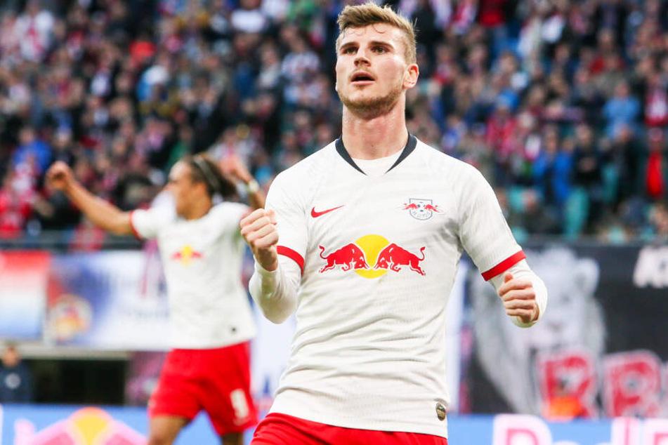 Timo Werner war Leipzigs Mann des Spiels: Drei Tore und drei Vorlagen steuerte er zum 8:0-Sieg gegen den 1. FSV Mainz 05 bei.