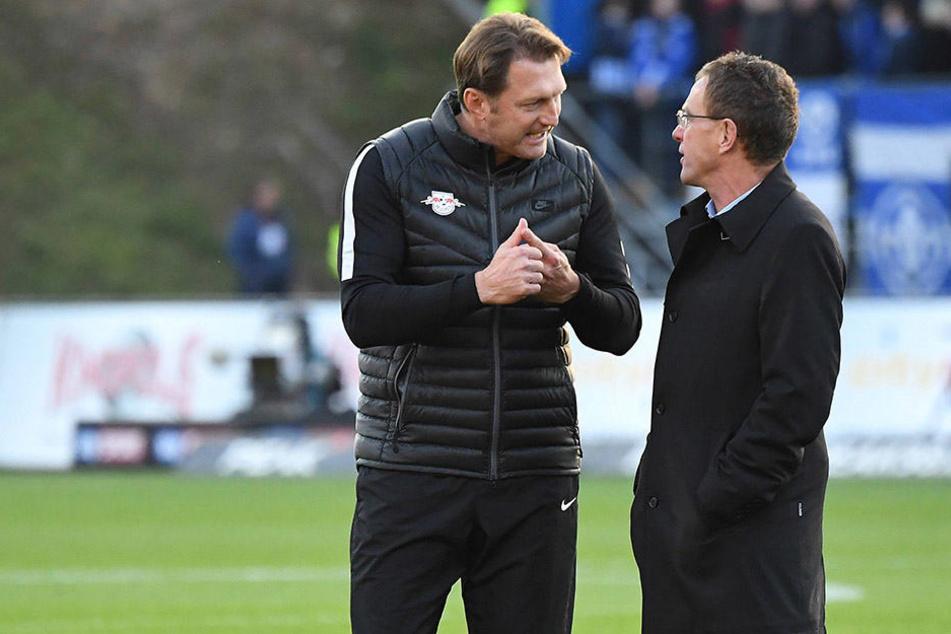 Trainer Ralph Hasenhüttl (49) und Sportdirektor Ralf Rangnick (58) planen vorerst ohne Neuzugänge.