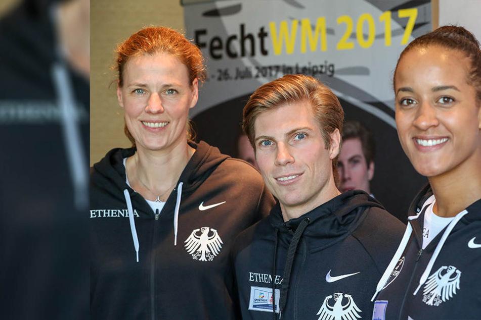 Claudia Botel, Präsidentin des Deutschen Fechter-Bundes; Peter Joppich, vierfacher Weltmeister und Alexandra Ndola, EM-Zweite 2017 nach der Pressekonferenz des Deutschen Fechter-Bundes.