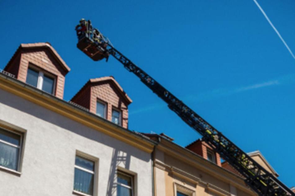 Mit einer Drehleiter gelangten die Kameraden aufs Dach. Binnen Minuten war der Brand unter Kontrolle gebracht!