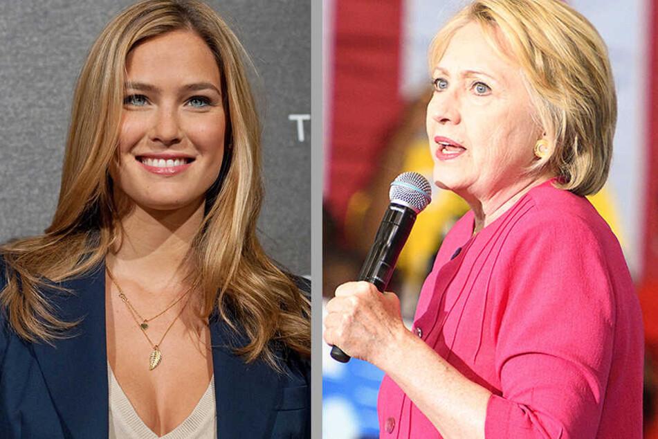 Topmodel Bar Refaeli (31) und Präsidentschaftskandidatin Hillary Clinton (68) ließen sich schon von Marcel Hampel (41) schminken.