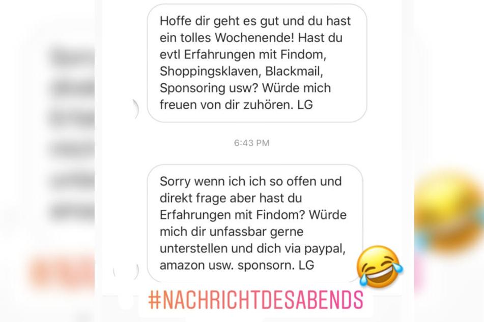 Michelle Schellhaas veröffentlichte die seltsame Anfrage als Instagram-Story.