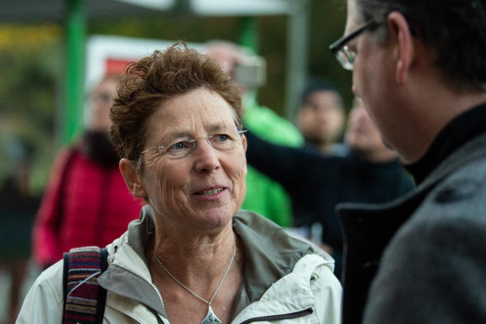 Kristina Hänel im Gespräch mit Thorsten Schäfer-Gümbel (SPD) kurz vor dem Berufungsprozess.