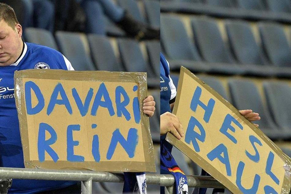 """""""Hesl raus - Davari rein"""" - mit der Forderung war dieser Fan nicht alleine."""