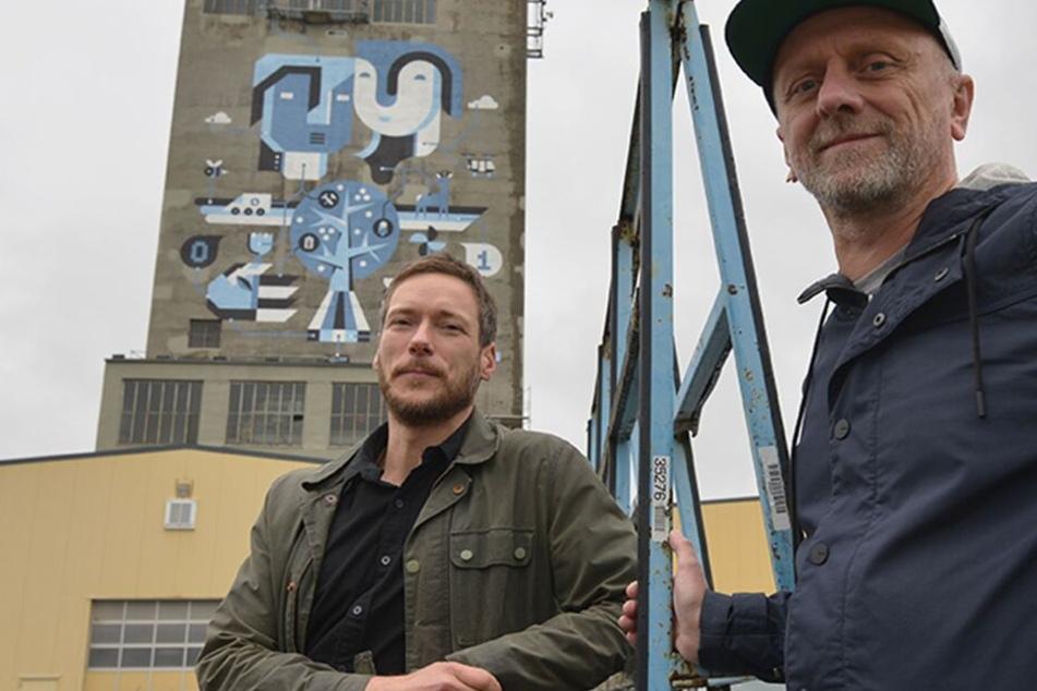 Riesen-Graffito macht's möglich: Schachtturm wird zum Riesen-Kunstwerk