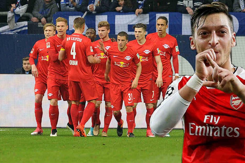 Beim Emirates Cup spielen neben RB Leipzig auch der FC Arsenal mit Weltmeister Mesut Özil (r.) mit.