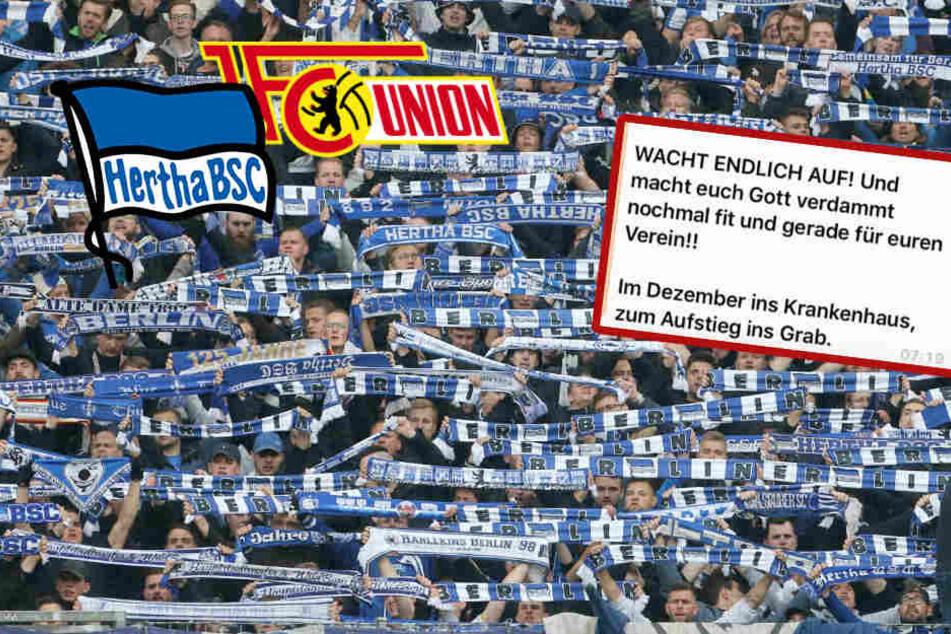 """""""Union-Missgeburten zerf*cken"""": Schockierender Whatsapp-Text bei Hertha-Fans im Umlauf!"""
