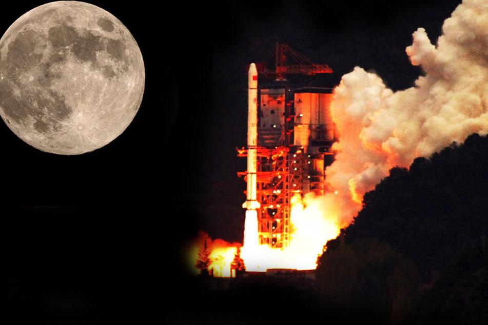 China will per Raumschiff Gestein vom Mond holen. (Bildmontage)
