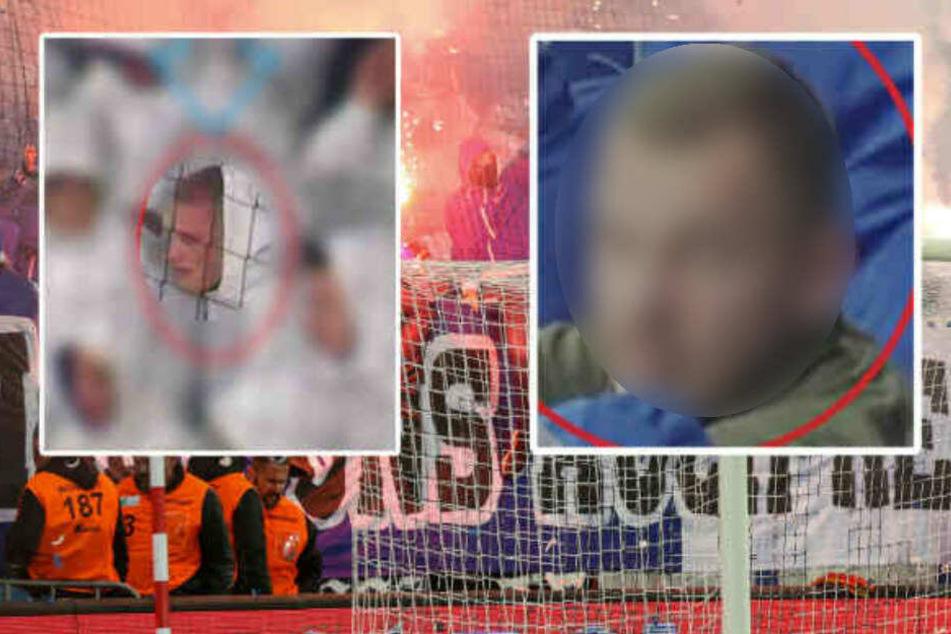 Die Polizei fahndet nach diesen Fußballfans. Einer konnte bereits ermittelt werden.