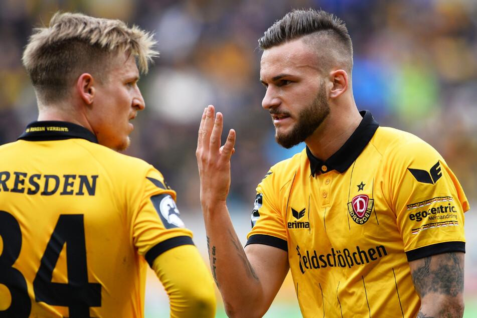 Fabian Holthaus (26, r.) spielte in der Rückrunde der Saison 2015/16 für Dynamo Dresden und stieg mit der SGD als Meister in die 2. Bundesliga auf.