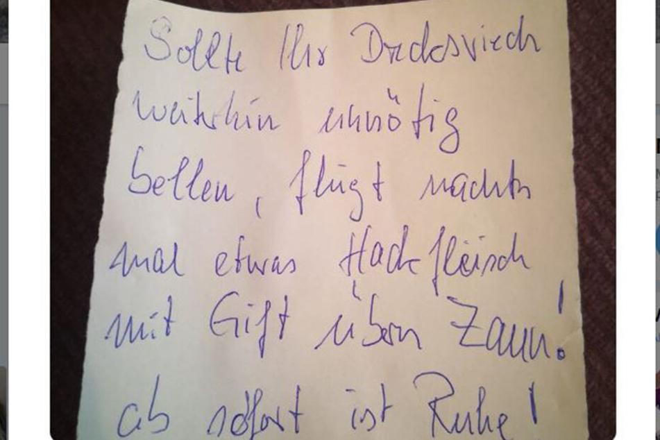 Hier die handgeschriebene Nachricht des Unbekannten.