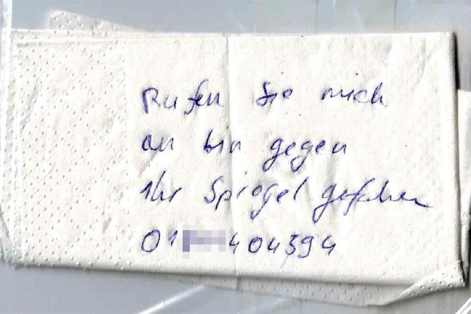 Diese Notiz hinterließ der Unfall-Verursacher und machte sich anschließend aus dem Staub.