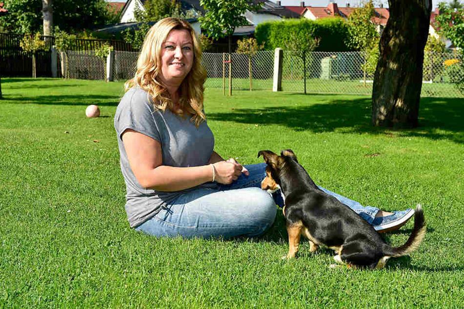 """Von Familienhund Buddy (4) lässt sich die Autorin auch gern mal bei der Arbeit  """"stören"""" und nimmt sich in den Schreibpausen Zeit zum Spielen."""