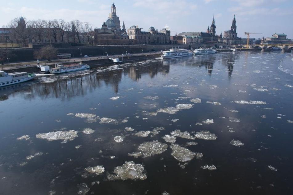 Eisschollen treiben auf der Elbe in Dresden.