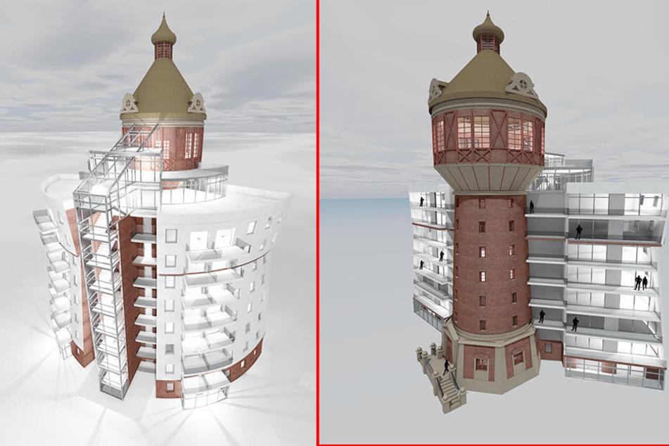 Im Wasserturm soll ein Restaurant auf zwei Ebenen entstehen. Das Hotel ist als Boardinghouse für längere Aufenthalte geplant.