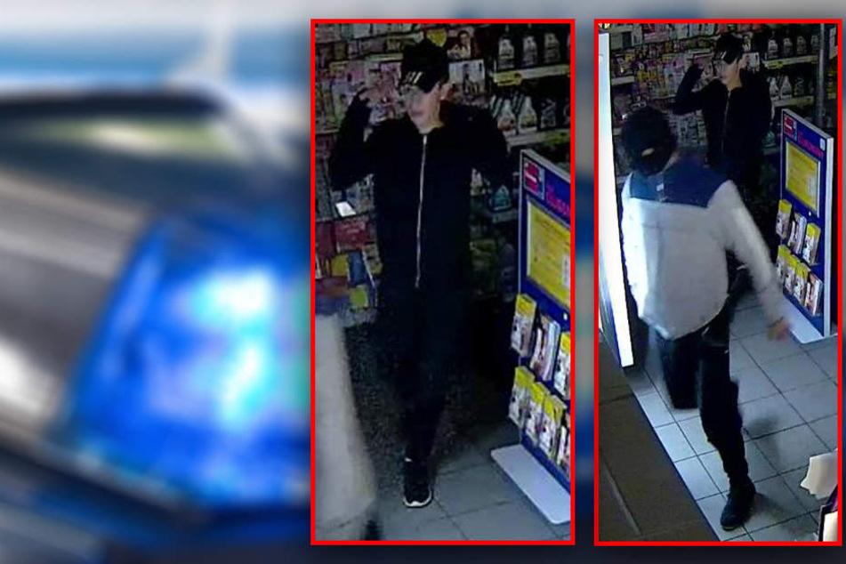 Einer der Täter trug ein Basecap und schwarze Jacke (l), der andere war maskiert und mit einer weißen Jacke.