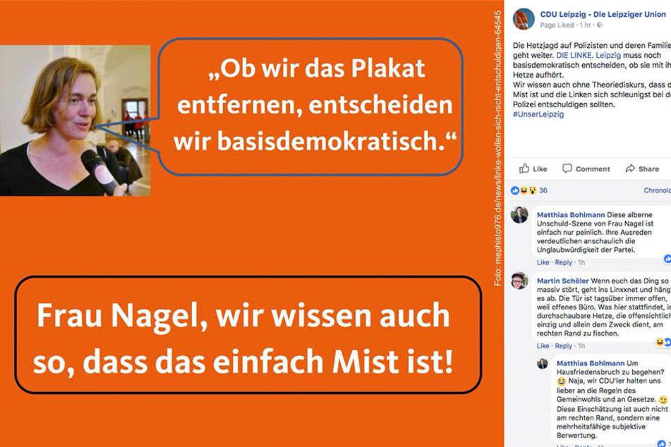 Mit diesem Post richtet sich die CDU-Fraktion gegen Linken-Abgeordnete Juliane Nagel (39).