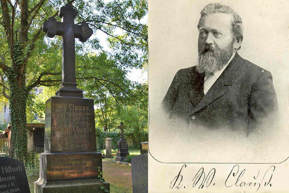 """links: Die Grabstätte des berühmten Dresdners liegt auf dem Inneren Matthäusfriedhof in der Friedrichstadt. / rechts: Der Dresdner Karl Wilhelm Clauß (1829-1894) erfand das """"Hitzefrei""""."""