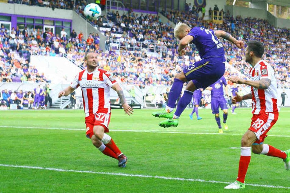 Eins von nur zwei Kopfballtoren in dieser Saison: Sören Bertram traf zum 1:2 gegen Union.