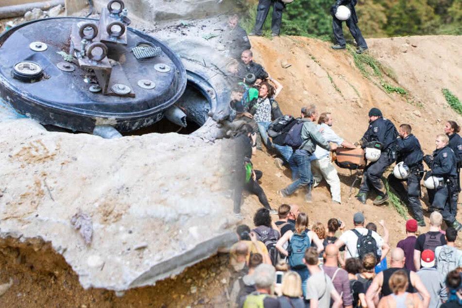 Scharmützel bei Hambach-Demo, Aktivisten verlassen elf Meter tiefen Schacht