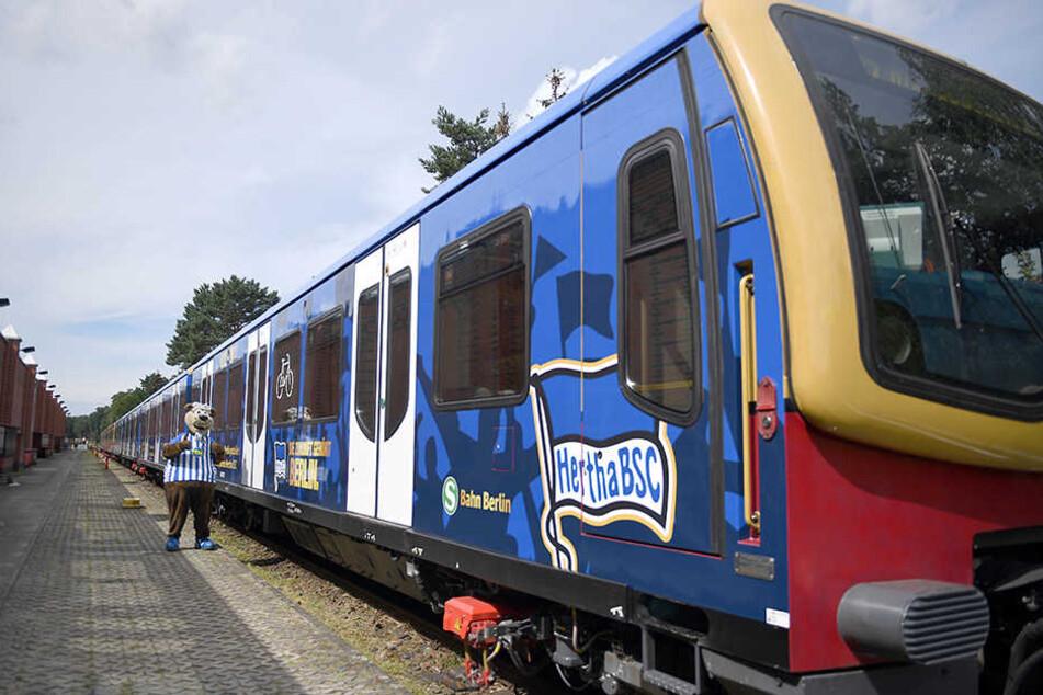 Das Maskottchen Herthinho steht vor dem Sonderzug der S-Bahn und posiert anlässlich des 125-jährigen Bestehen des Vereins.