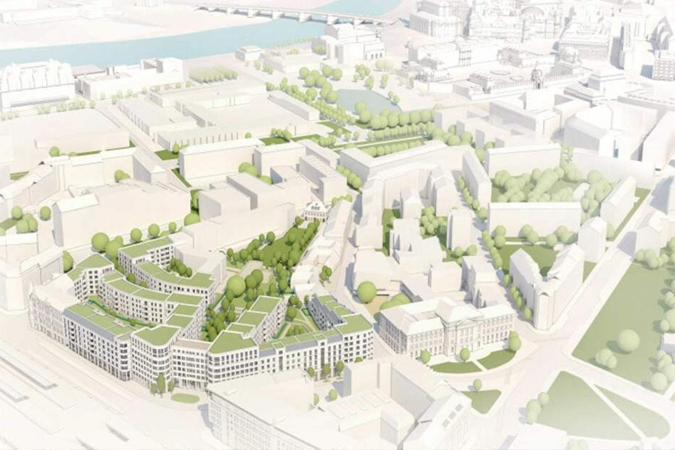 So soll der neue Stadtteil mit 500 Wohnungen aussehen.