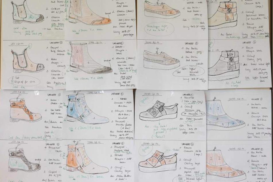 An der Pinnwand im Büro hängen noch die Entwürfe für die Herbst/Winter-Kollektion. In Arbeit sind aber längst die Schuhe für den Sommer 2018.