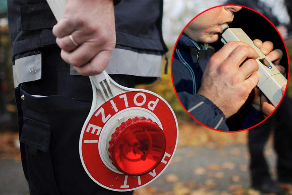 Die Beamten hielten den Mann wegen eines nicht angelegten Sicherheitsgurtes an und stellten fest, dass er sternhagelvoll war (Symbolbild).