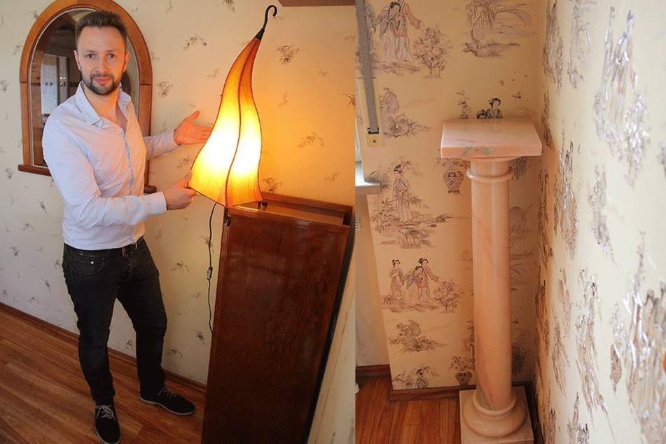 Links: Ursprünglich waren es zwei: Oleg Antonenko (33) mit der verbliebenen  Lampe. Rechts: Der Tatort: Hier stand die Lampe.