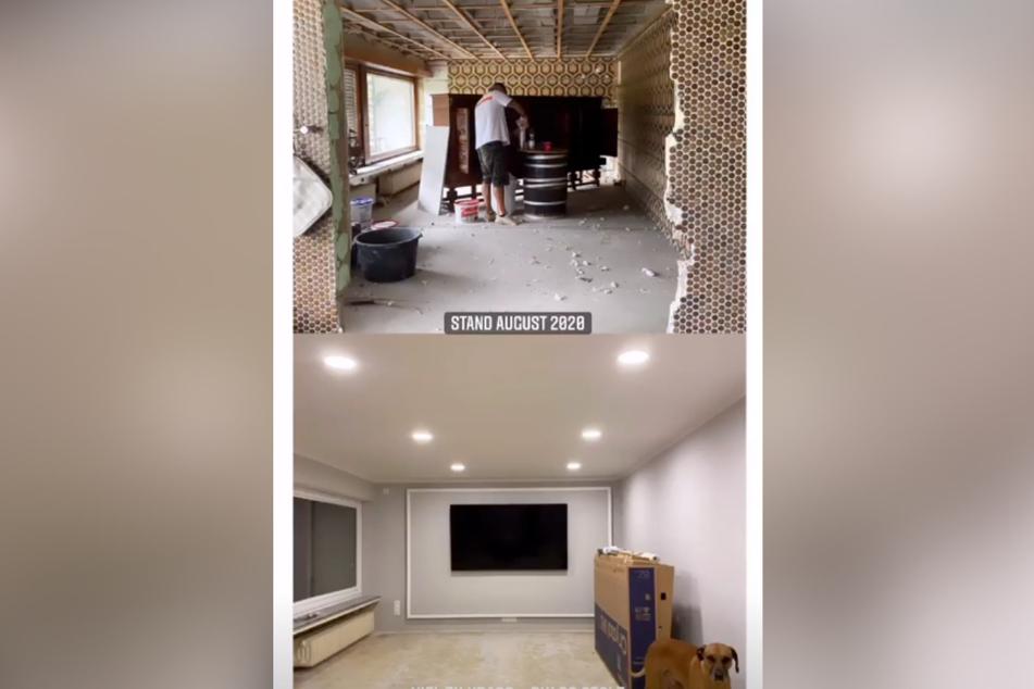 Blick ins Wohnzimmer: Oben der Stand der Arbeiten im August, unten wie der Raum aktuell aussieht. (Screenshot)
