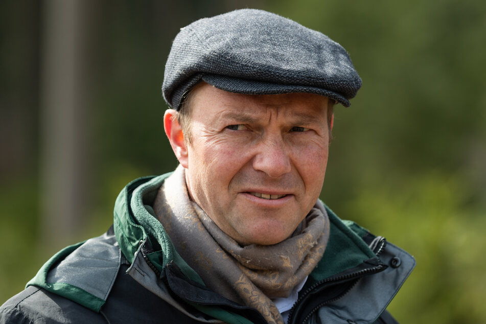 Wolfram Günther (Bündnis90/Die Grünen), Umweltminister von Sachsen, steht im Rahmen eines Pressetermins zum Start der Borkenkäfersaison in einem Waldstück.