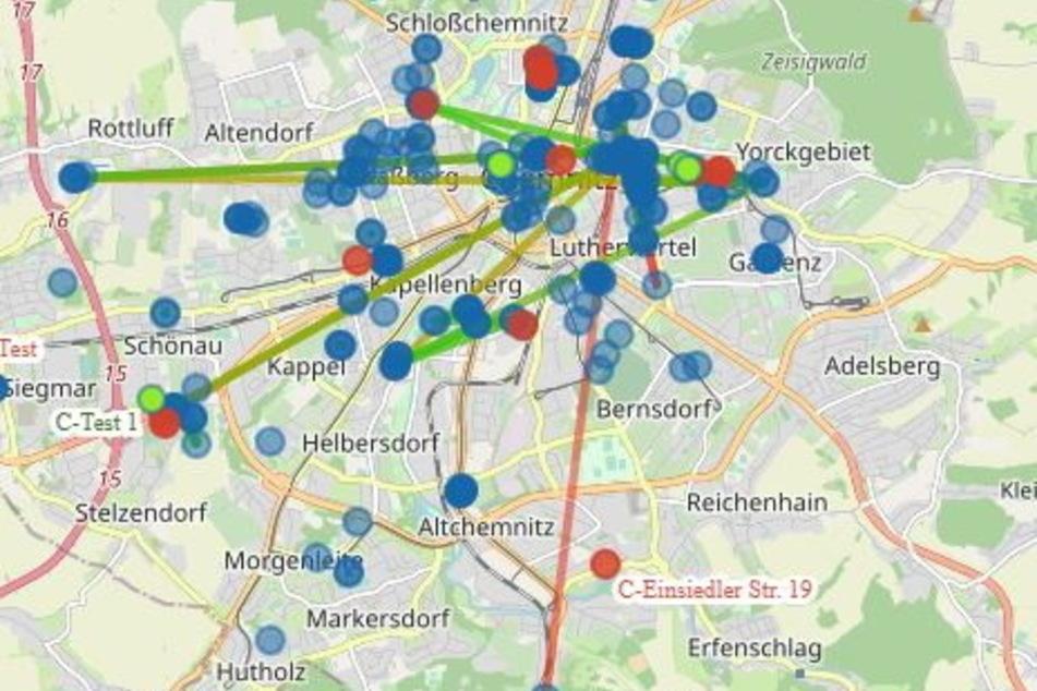 Das Chemnitzer Freifunk-Netz ist dichter als gedacht. Grün markiert sind neue Knotenpunkte, blau sind gerade online und rote offline.
