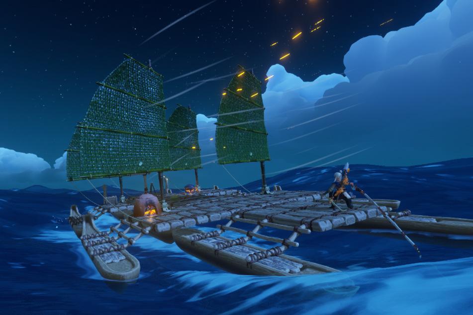 """Das Segeln und Bootsbauen gehört ohne Zweifel zu den größten Stärken von """"Windbound"""". Leider bietet das Spiel abseits eures Kahns nur wenig Tiefe. Hinzu kommen Rogue-Like-Elemente und ein fast unverhältnismäßiger Schwierigkeitsgrad, was für unnötigen Frust sorgt."""