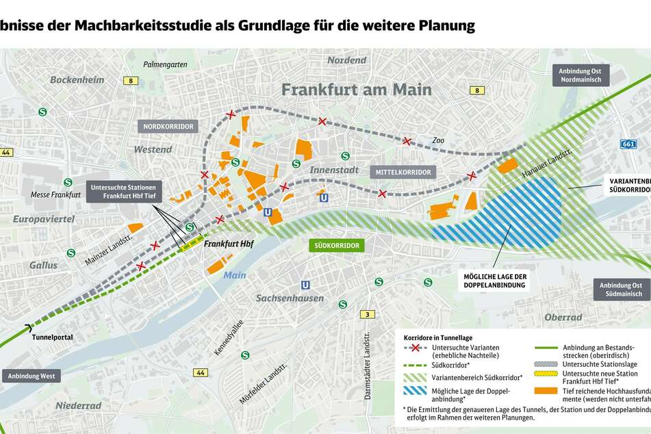 Die Skizze zeigt die Ergebnisse der jüngsten Machbarkeitsstudie, die als Grundlage für die weitere Planung des Fernbahntunnels gilt.