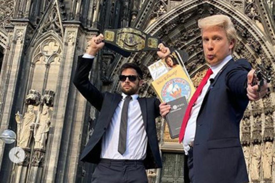 Fake-Trump mit Knarre vor Kölner Dom