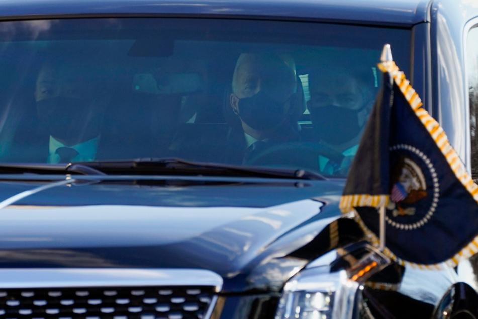 Joe Biden (78) bei seiner Fahrt per Limousine zum Weißen Haus.