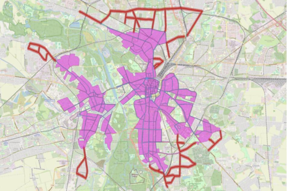 In den rot eingezeichneten Bereiche können die Fahrräder von Nextbike aktuell nicht abgegeben und ausgeliehen werden.