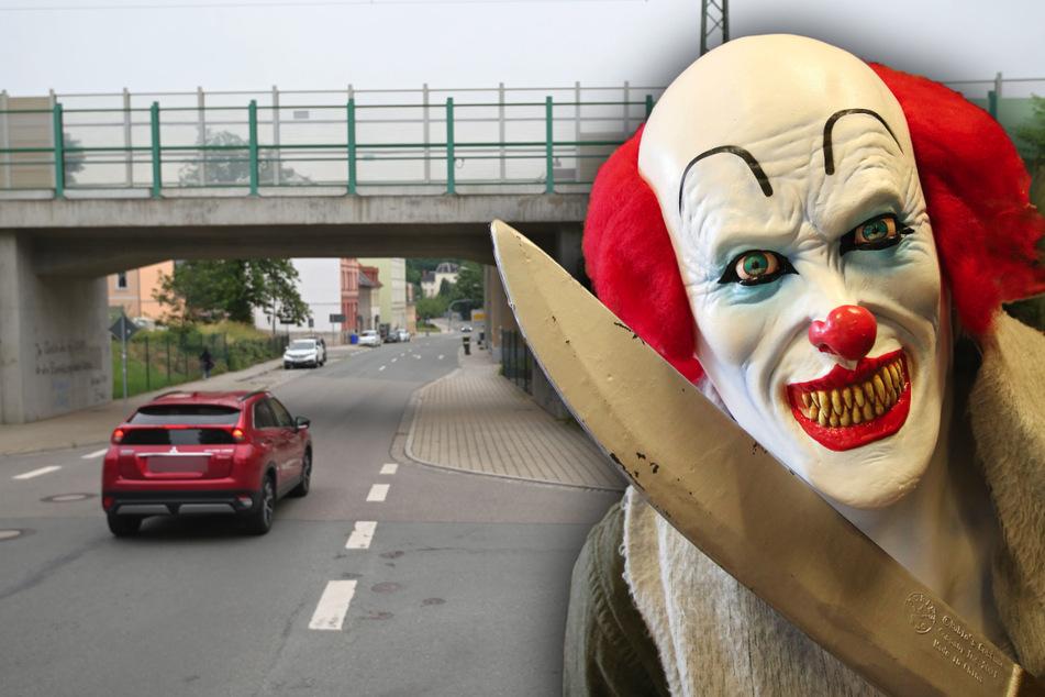 Horrorclown-Alarm in Meerane! Eine Frau, die als Clown verkleidet war und ein Messer bei sich trug, verfolgte am Dienstag einen Radfahrer an der Bahnunterführung auf der Rudolf-Breitscheid-Straße.