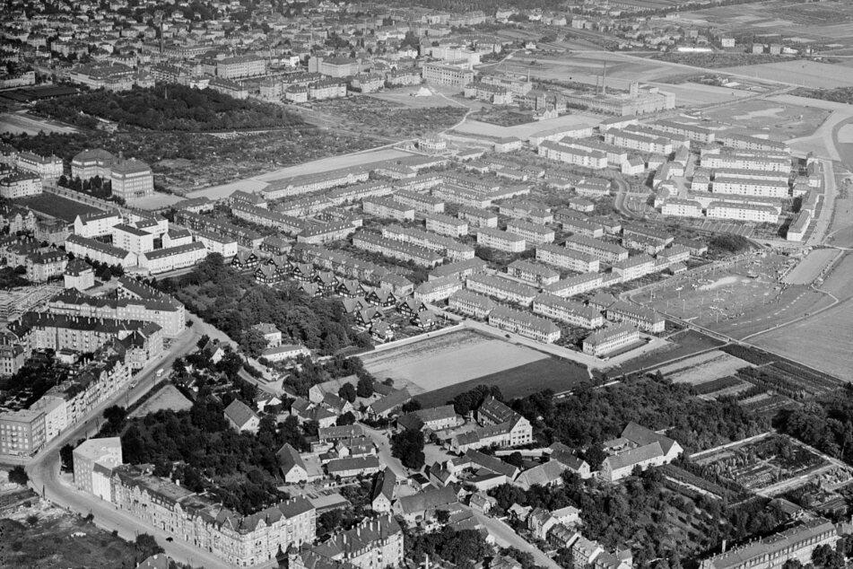 Ein Blick auf Altgruna aus dem Jahr 1927, Dresden wächst allmählich um den alten Dorfkern herum.