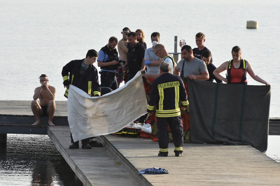 Auf dem Steg am Berzdorfer See musste der junge Pole (19) wieder belebt werden.