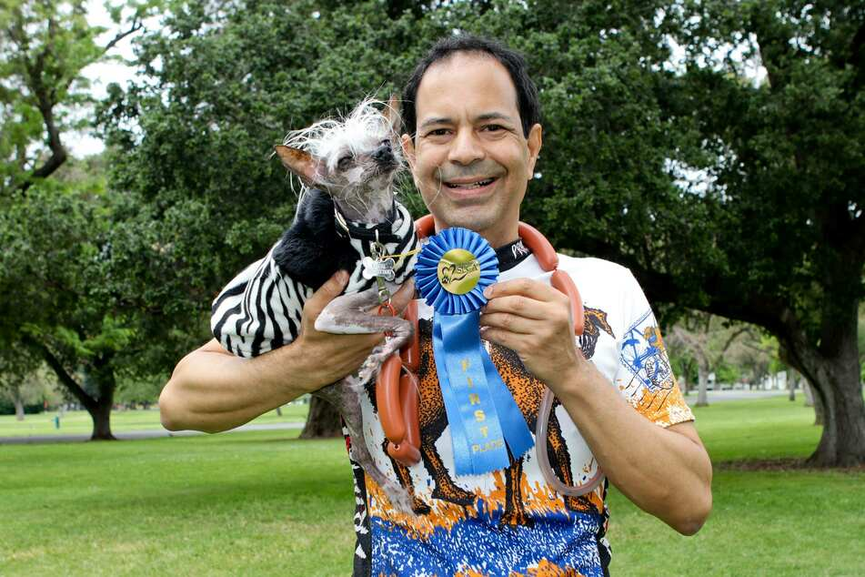 Rascal poses with his owner Dane Andrew after once again winning the title of ugliest dog in the world.