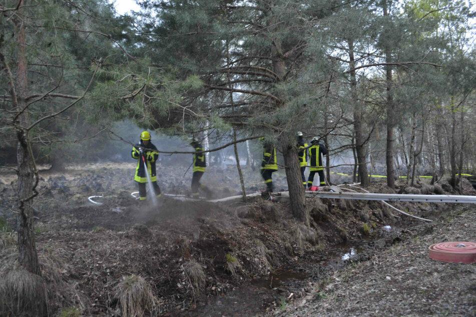 Die Wehren kämpfen gegen die (fast) unsichtbare Brandgefahr im Moor. Dabei wurde viel Wasser benötigt.