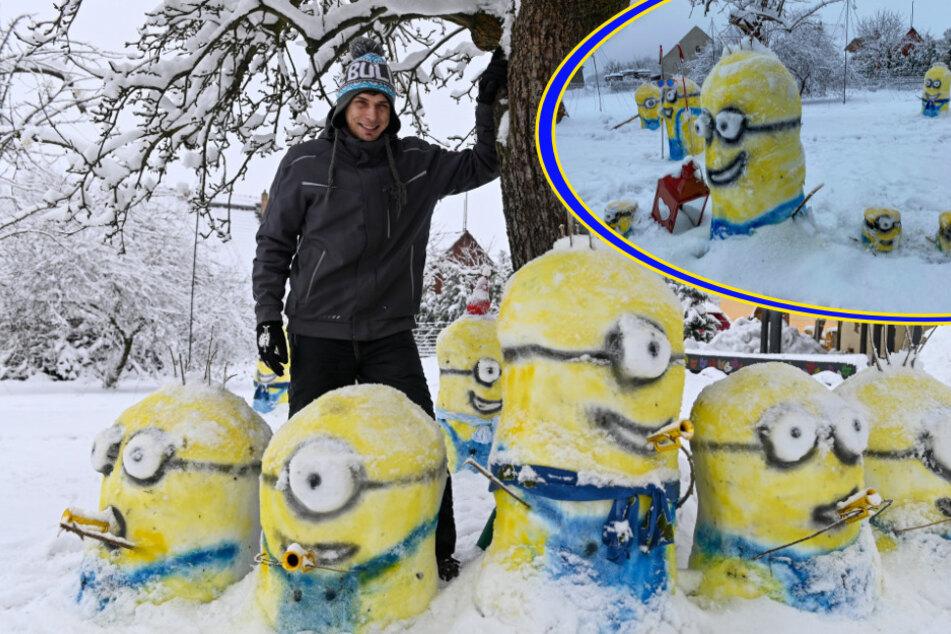 Dresden: Angriff der Minions! Sachse verliert seinen Garten an kleine, gelbe Schnee-Kreaturen