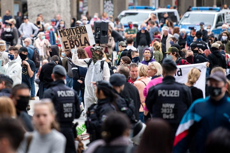 Corona-Demonstration in Köln im März 2020.